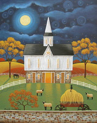 Folk Art Painting - The Star Barn by Mary Charles