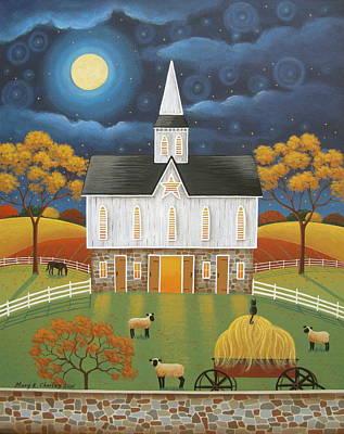 Autumn Folk Art Painting - The Star Barn by Mary Charles