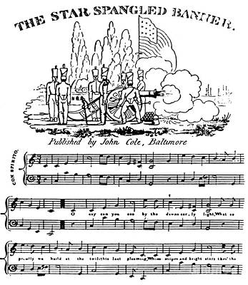 Star Spangled Banner Drawing - The Star Spangled Banner by Francis Scott Key