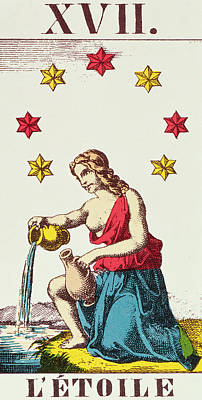 Pouring Drawing - The Star  Tarot Card by French School