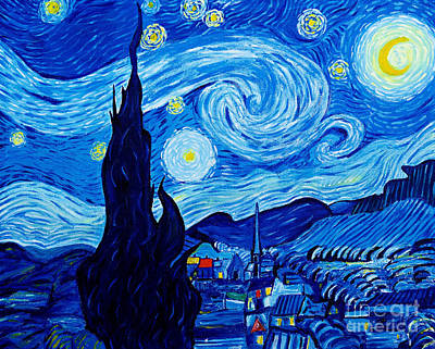 The Starry Night - Tribute To Van Gogh Art Print by Art by Danielle