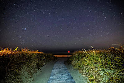 Photograph - The Starry Path To Good Harbor Beach In Gloucester, Ma Lit Path by Toby McGuire