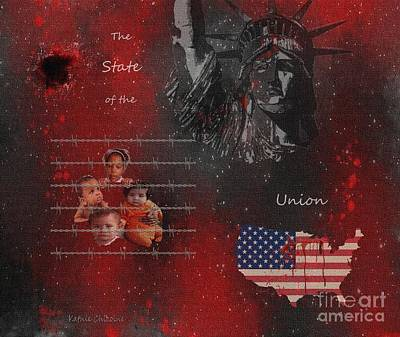 Digital Art - The State Of The Union With Flag by Kathie Chicoine