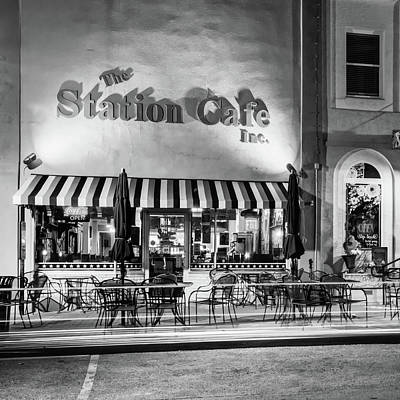 Photograph - The Station Cafe - Bentonville Arkansas - Black And White Edition by Gregory Ballos
