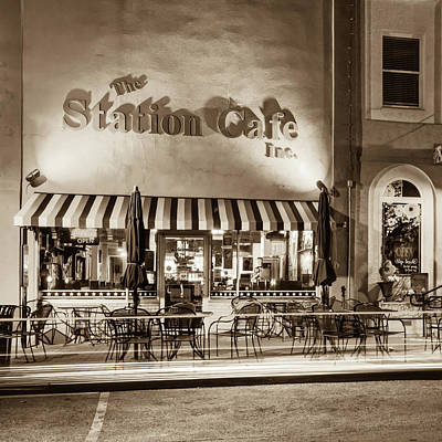Photograph - The Station Cafe - Bentonville Arkansas - Sepia Edition by Gregory Ballos