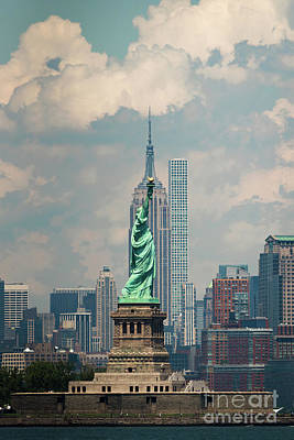 Photograph - The Statue Of Liberty And The Empire State Building by Zawhaus Photography
