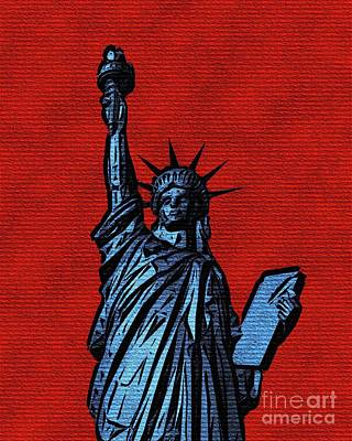 Abstract Landscape Royalty-Free and Rights-Managed Images - The Statue of Liberty on Red by Pierre Blanchard