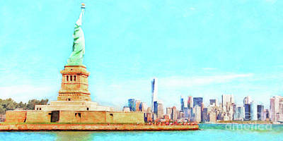 Photograph - The Statue Of Liberty The World Trade Center And The New York Skyline 20180507 Ver2 by Wingsdomain Art and Photography