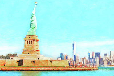 Photograph - The Statue Of Liberty The World Trade Center And The New York Skyline 20180507 Ver3 by Wingsdomain Art and Photography