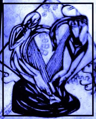 The Statue Sketch In Blue Art Print