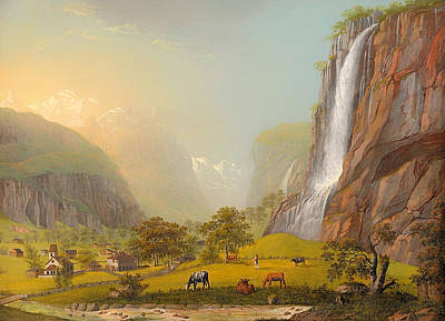 Switzerland Painting - The Staubbach In Lauterbrunnen Valley Canton Bern by Mountain Dreams