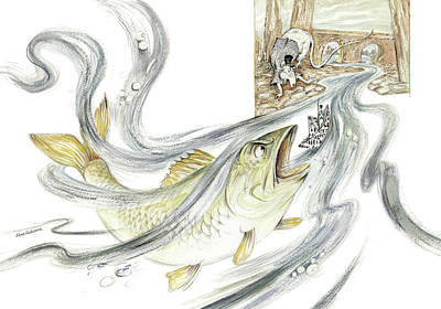 The Steadfast Tin Soldier - In Paper Boat, Pursued By Angry Rat, Hungry Fish - Illustration Original