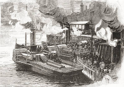 Steamboat Drawing - The Steamboat Quay At The Broomielaw by Vintage Design Pics