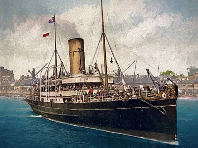 Old Painting - The Steamship Lydia by John K Woodruff