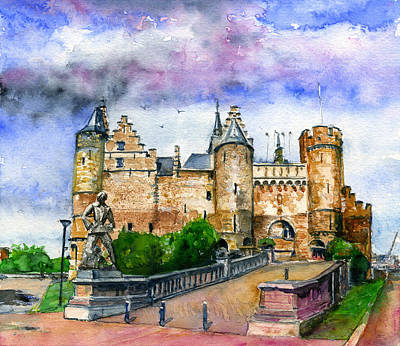 Painting - The Steen Castle Antwerp Belgium by John D Benson