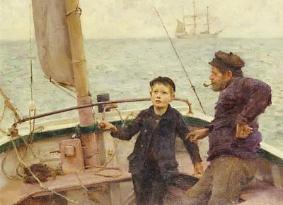 Fishing Lessons Painting - The Steering Lesson by Henry Scott Tuke