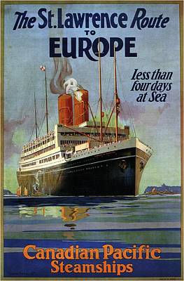 Royalty-Free and Rights-Managed Images - The St.Lawrence Route to Europe - Canadian Pacific Steamships - Retro travel Poster - Vintage Poster by Studio Grafiikka