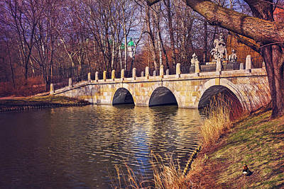 Of Autumn Photograph - The Stone Bridge In Lazienki Park Warsaw  by Carol Japp