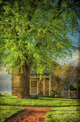 The Stone Cottage On A Spring Evening Art Print