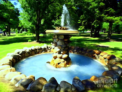 Digital Art - The Stone Fountain by Ed Weidman