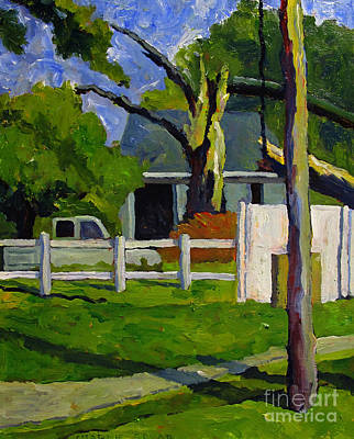 Small Town Scene Painting - The Storm On Mexico Road by Charlie Spear
