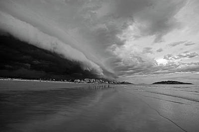 Photograph - The Storm Rolling In To Good Harbor Beach Gloucester Ma Black And White by Toby McGuire