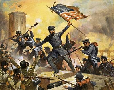 Star Spangled Banner Painting - The Storming Of The Fortress At Chapultec by English School