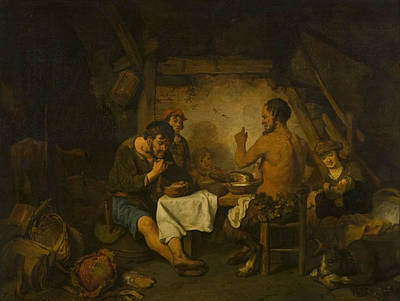 Painting - The Story Of The Farmer And The Satyr From Aisopus' Fables by Gerbrand van den Eeckhout