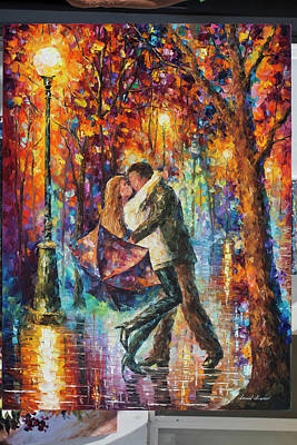 Painting - The Story Of The Umbrella by Leonid Afremov