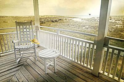 Adirondack Chairs On The Beach Photograph - The Straw Beach Hat by Diana Angstadt
