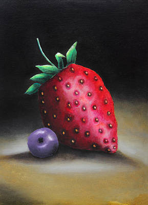 Blueberry Drawing - The Strawberry And The Blueberry by Nirdesha Munasinghe