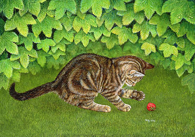 Paws Painting - The Strawberry Kitten by Ditz