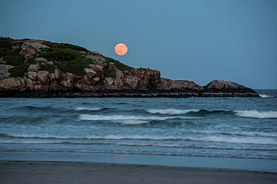 The Strawberry Moon Rising Over Good Harbor Beach Gloucester Ma Island Art Print