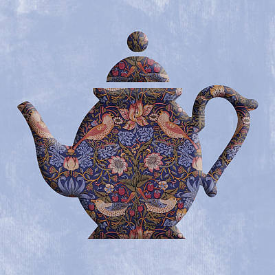 Digital Art - The Strawberry Thief Pattern Teapot by Anthony Murphy