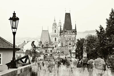 Photograph - The Stream Of People On Charles Bridge. Prague by Jenny Rainbow