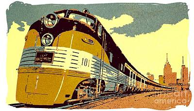 Pap Painting - The Streamliner Train by Heidi De Leeuw