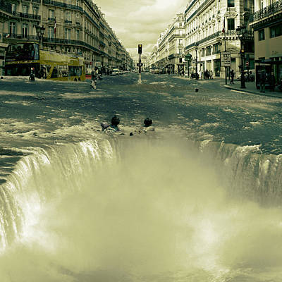 Floods Digital Art - The Street Fall by Marian Voicu