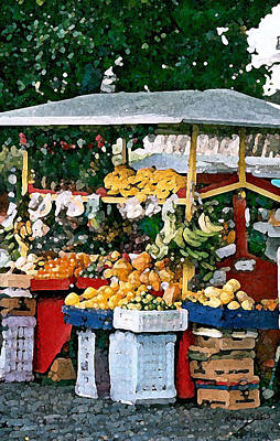 Digital Art - The Street Fruit Stand by Donna Corless