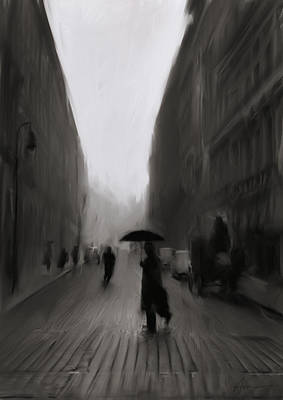 Umbrellas Digital Art - The Street Of Forgotten Men by H James Hoff