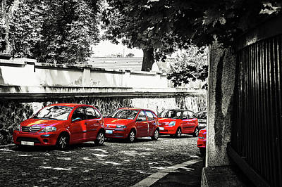 Photograph - The Street Of Red Cars by Jenny Rainbow