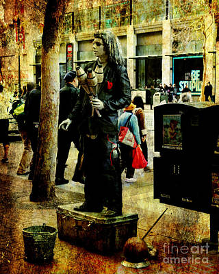 Photograph - The Street Performer 2 . Texture by Wingsdomain Art and Photography