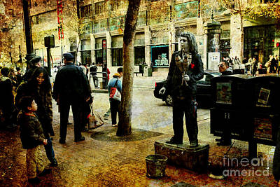 Photograph - The Street Performer . Texture by Wingsdomain Art and Photography