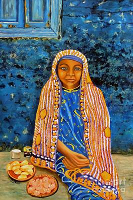 Painting - The Street Vendor In The Blue Dress by Caroline Street
