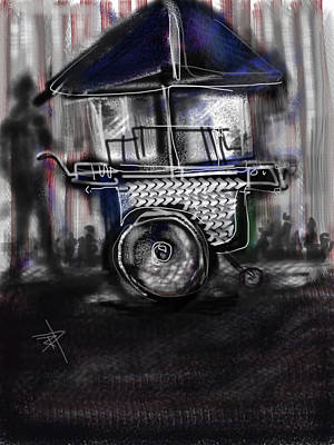 Hot Dogs Digital Art - The Street Vendor by Russell Pierce