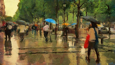 Asphalt Digital Art - The Streets Of Paris In The Rain by Sergey Lukashin