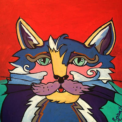 The Streetwise Old Colorful Cat Prints By Robert Erod Original by Robert R Splashy Art Abstract Paintings