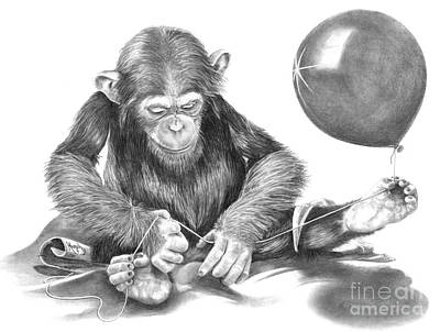 Cute Monkey Drawing - The String Theory by Murphy Elliott