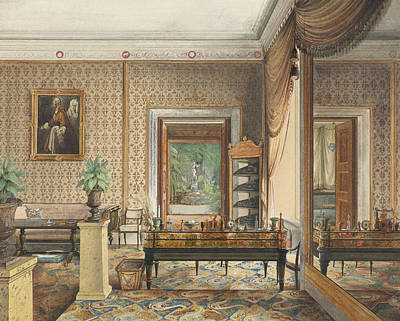 Drawing - The Study Of Prince Karl Of Prussia by Eduard Gaertner