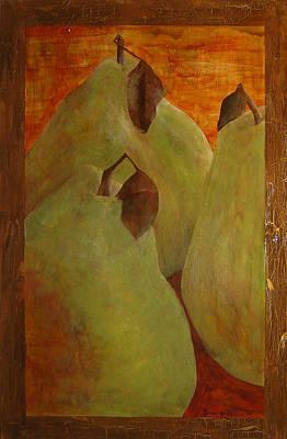 The Study Of Three- Pears Art Print by Ellen Beauregard