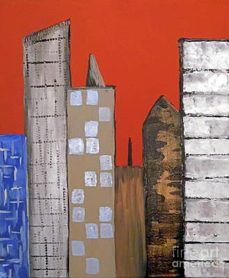 Terra Painting - The Subdued City II by Jilian Cramb - AMothersFineArt
